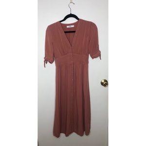⭐️JustFab Blush Colored Button Down Midi Dress